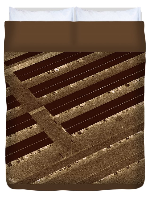 Landing Strips Duvet Cover featuring the photograph Landing Strips by Ed Smith