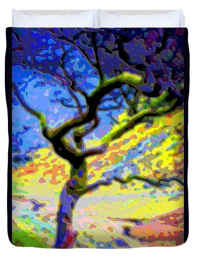 Landscape Duvet Cover featuring the digital art Landscape Art Tree Life by Mary Clanahan