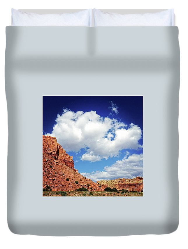 Scenics Duvet Cover featuring the photograph Landscape Desert Badlands Sky by Amygdala imagery