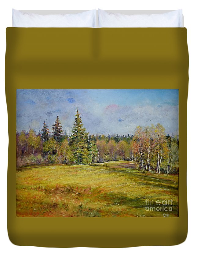 Raija Merila Duvet Cover featuring the painting Landscape From Pyhajarvi by Raija Merila