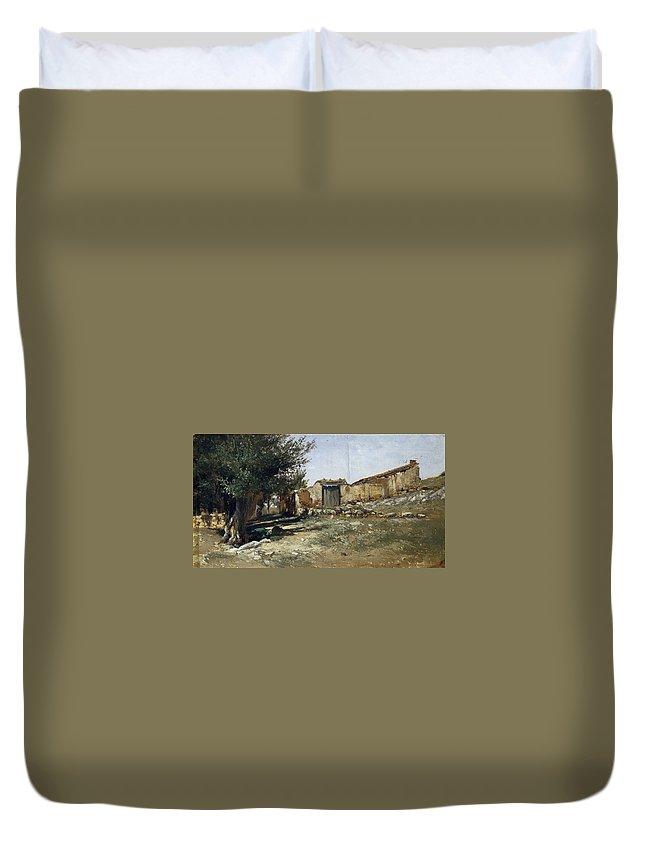 Carlos De Haes Duvet Cover featuring the painting Landscape In Aragon by Carlos de Haes