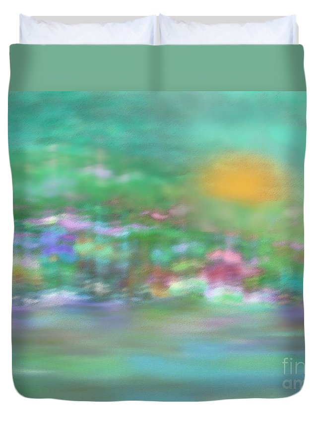 Abstract Duvet Cover featuring the digital art Landscape In Pastel Colors by Klara Acel
