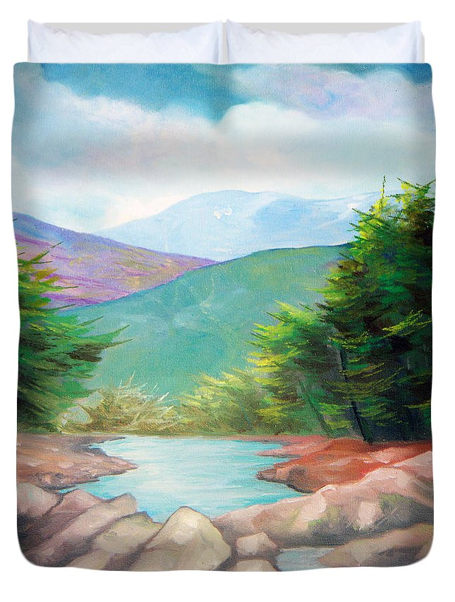 Bayou Duvet Cover featuring the painting Landscape With A Creek by Sergey Bezhinets