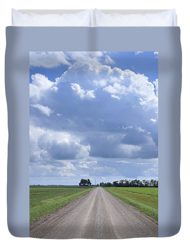 Landscape Duvet Cover featuring the photograph Landscape With Road by Donald Erickson