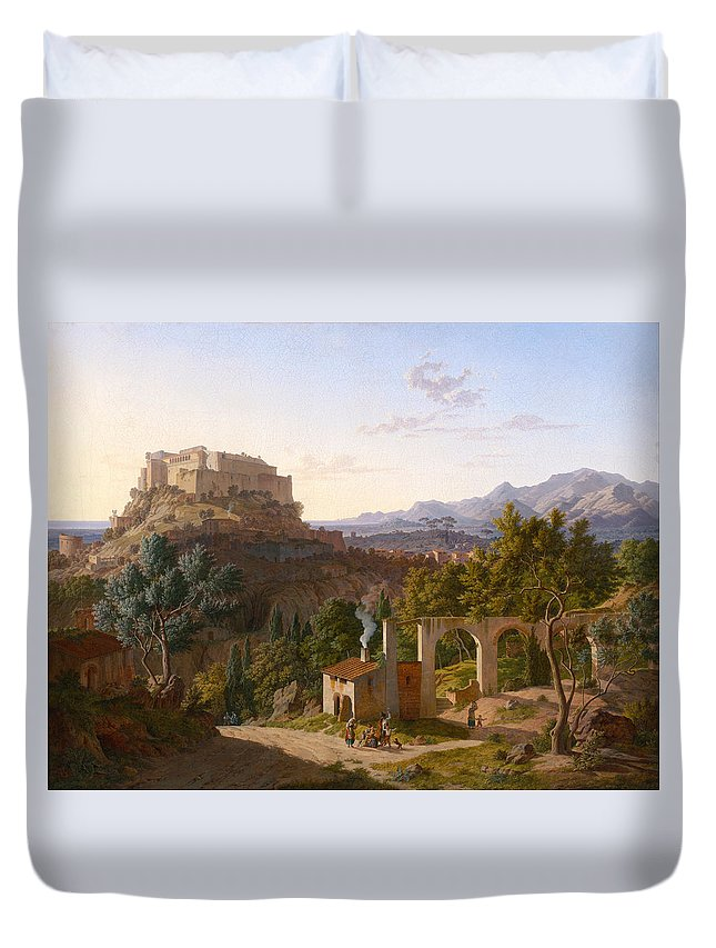 Leo Von Klenze Duvet Cover featuring the painting Landscape With The Castle Of Massa Di Carrara by Leo von Klenze