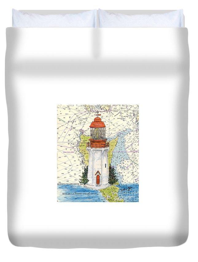 Langara Duvet Cover featuring the painting Langara Pt Lighthouse Bc Canada Nautical Chart Map Art by Cathy Peek
