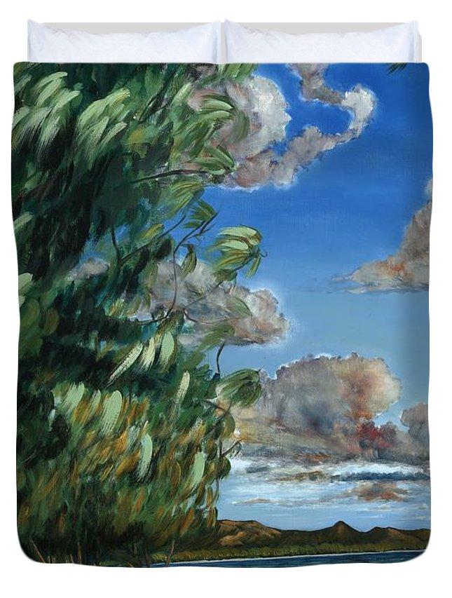 Lanikai Beach Duvet Cover featuring the painting Lanikai Beach by Larry Geyrozaga