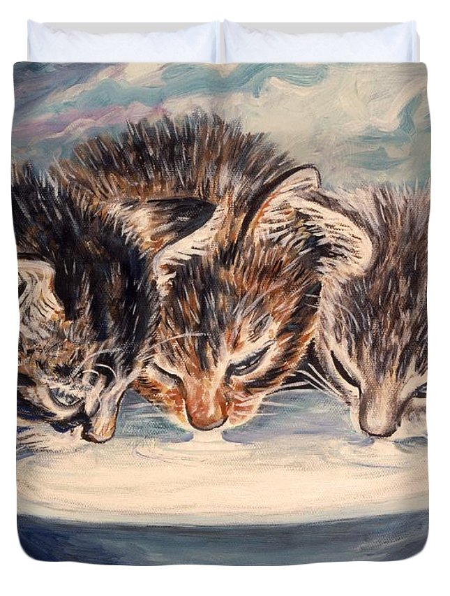 Kittens Duvet Cover featuring the painting Lap Of Luxury Kittens by Linda Mears