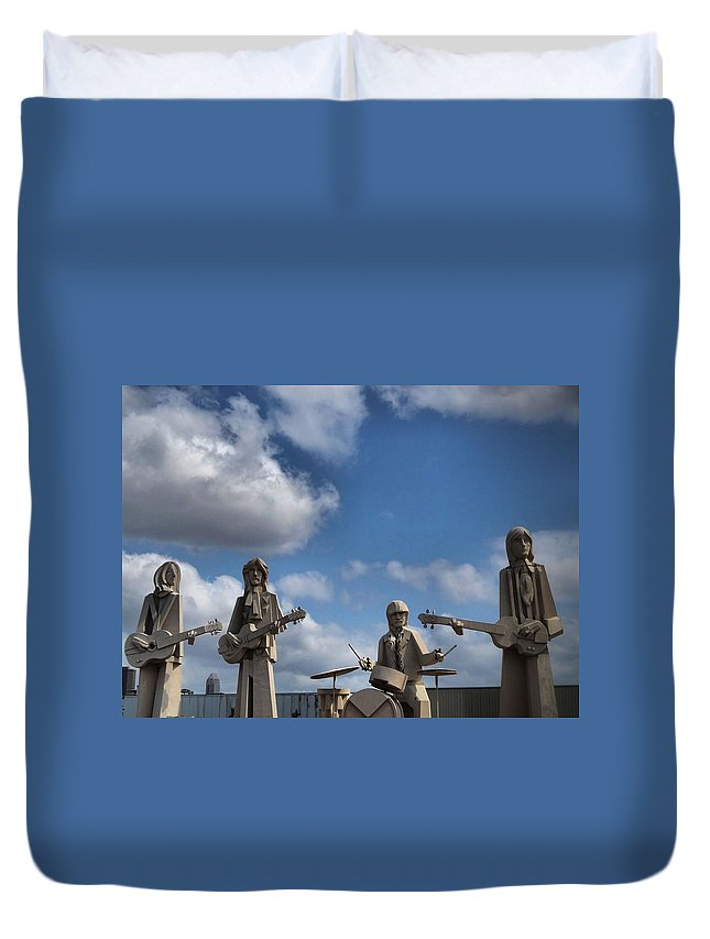 The Beatles Duvet Cover featuring the photograph Larger Than Life Beatles by Dan Sproul