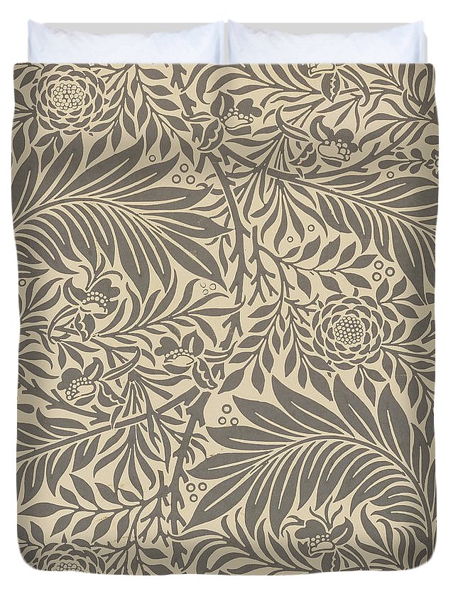 Arts And Crafts Duvet Cover featuring the painting Larkspur Wallpaper Design by William Morris