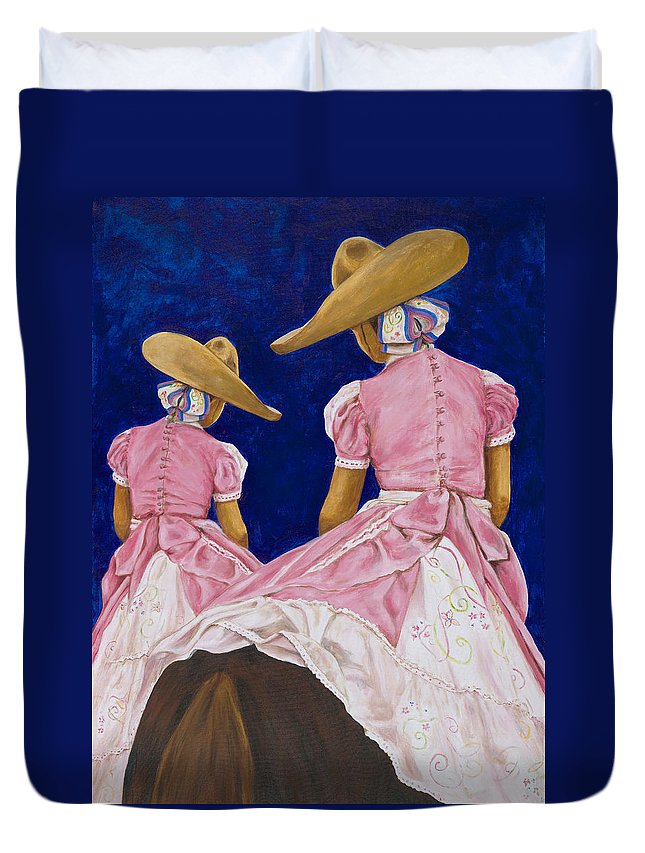 Mexican Rodeo Duvet Cover featuring the painting Las Charras Rosadas by Pat Haley