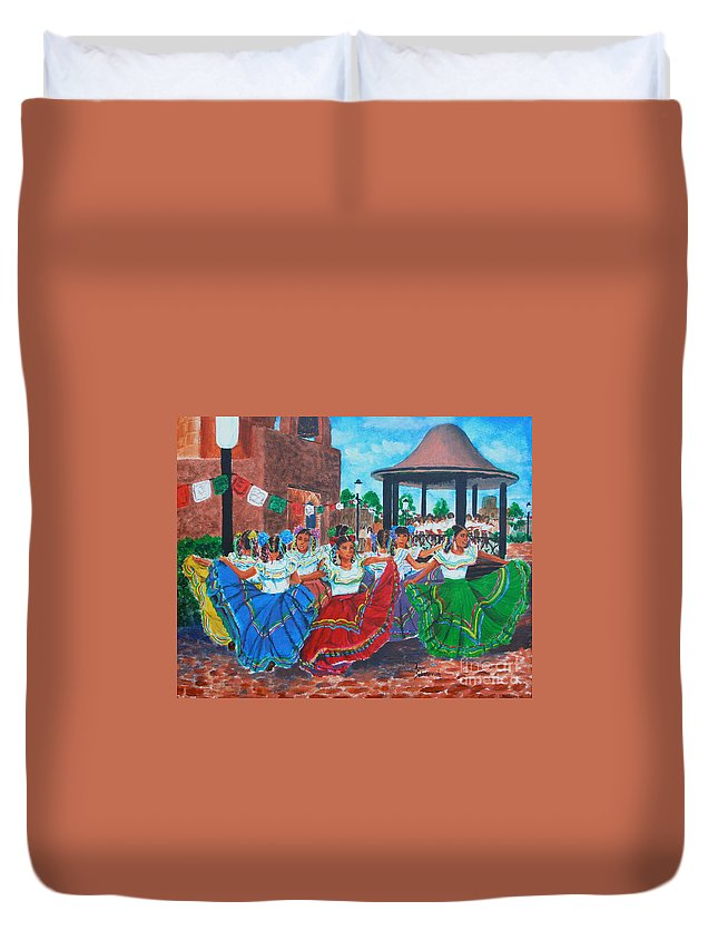 Sokolovich Duvet Cover featuring the painting Las Fiestas by Ann Sokolovich
