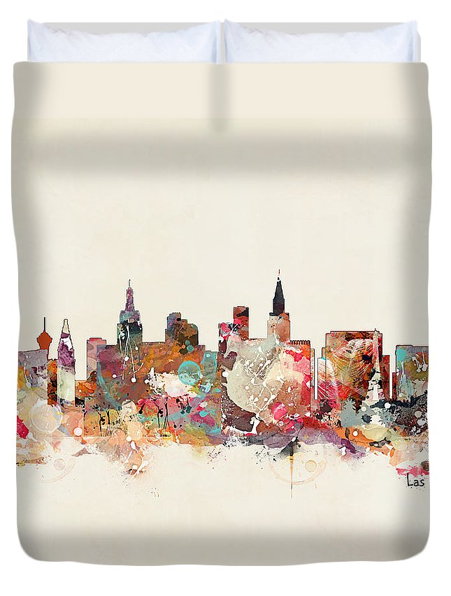 Las Vegas Skyline Duvet Cover featuring the painting Las Vegas Nevada by Bri Buckley