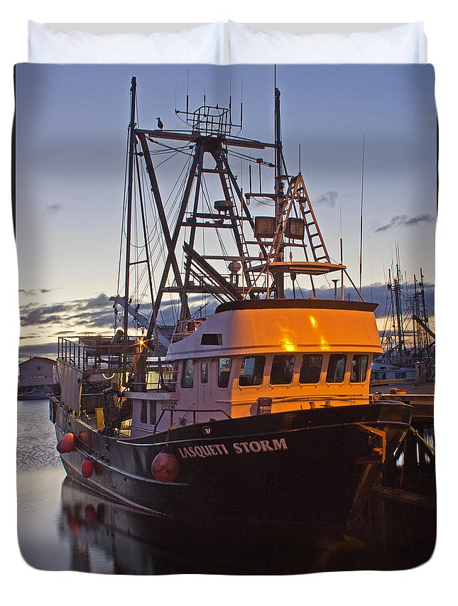 Boat Duvet Cover featuring the photograph Lasqueti Storm by Randy Hall