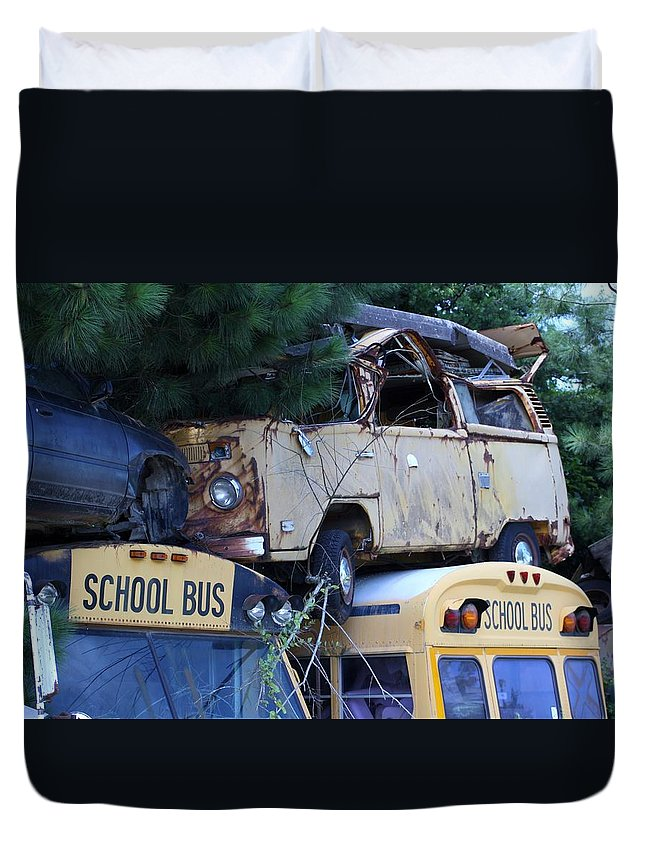 Bus Duvet Cover featuring the photograph Last Bus Stop by Chuck Hicks
