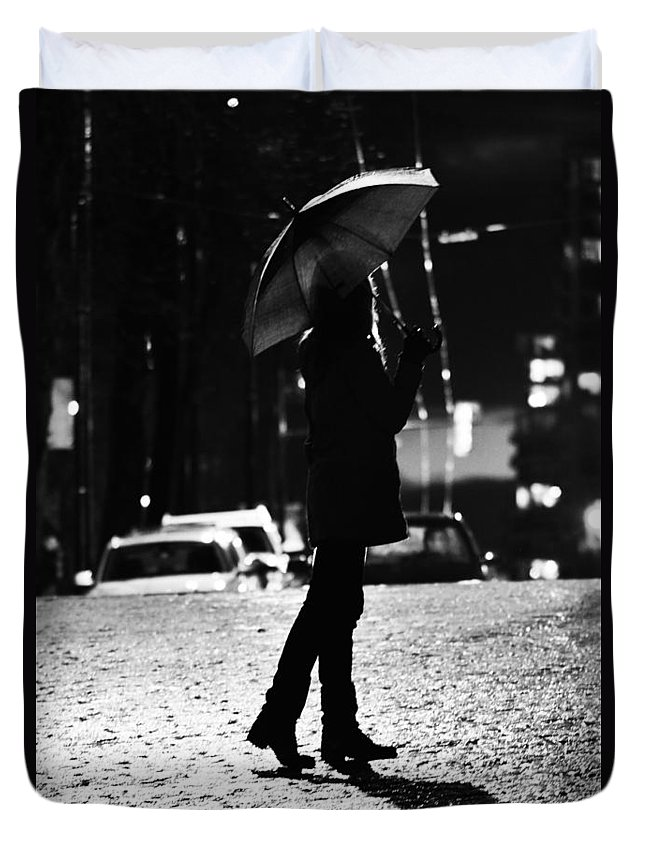 Street Photography Duvet Cover featuring the photograph last Cab by The Artist Project
