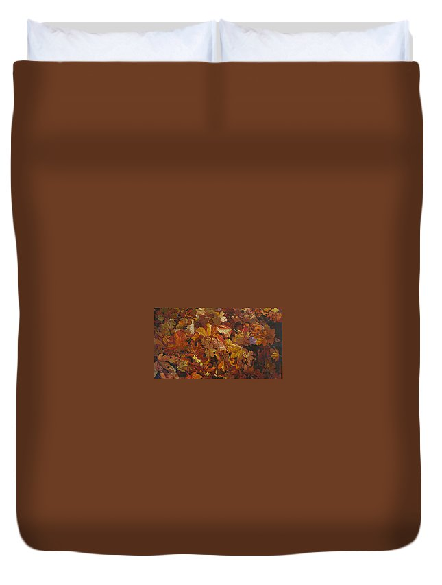 Fall Duvet Cover featuring the painting Last Fall in Monroe by Thu Nguyen