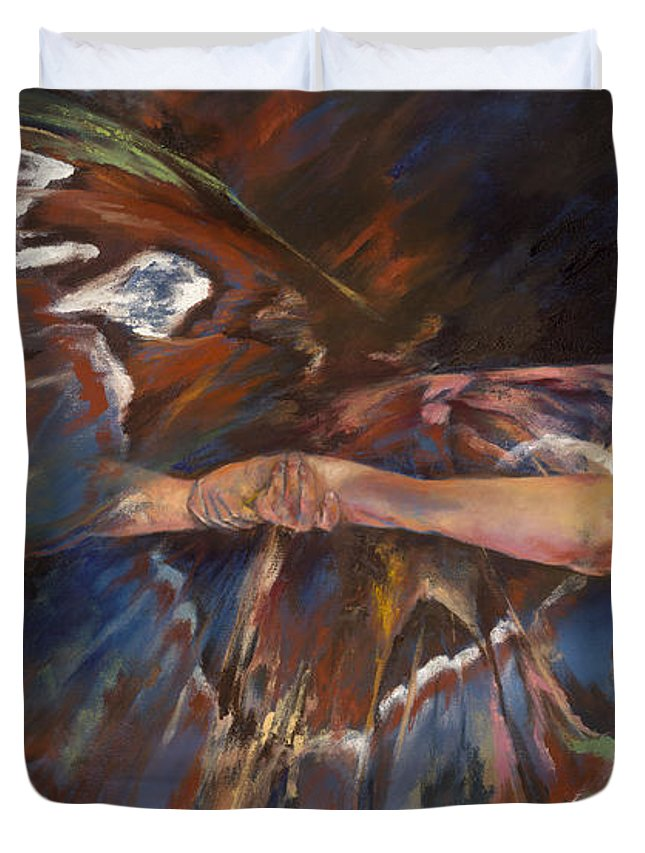 Butterfly Duvet Cover featuring the painting Last Flight by Karina Llergo