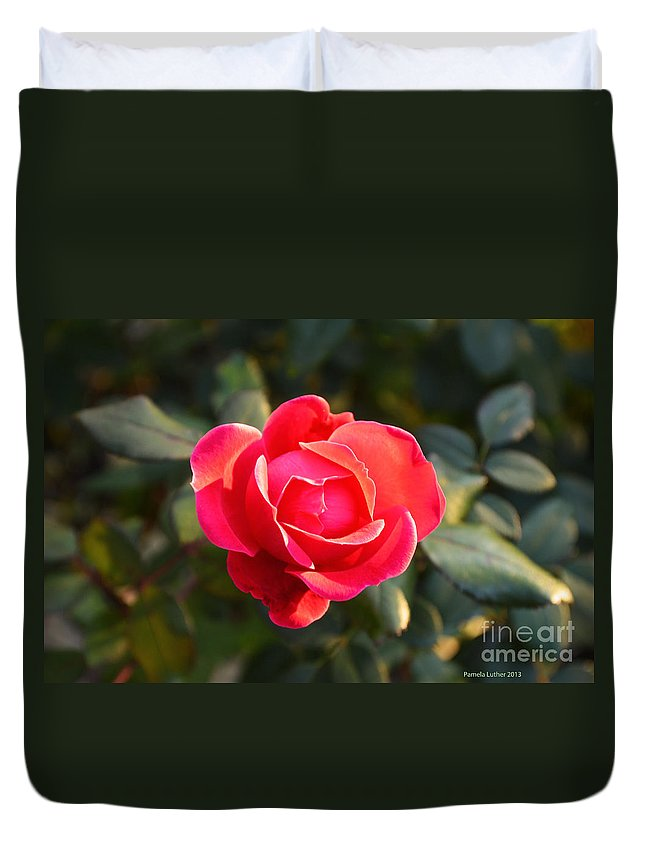 Last Rose Of Summer Duvet Cover featuring the photograph Last Rose Of Summer by Luther Fine Art