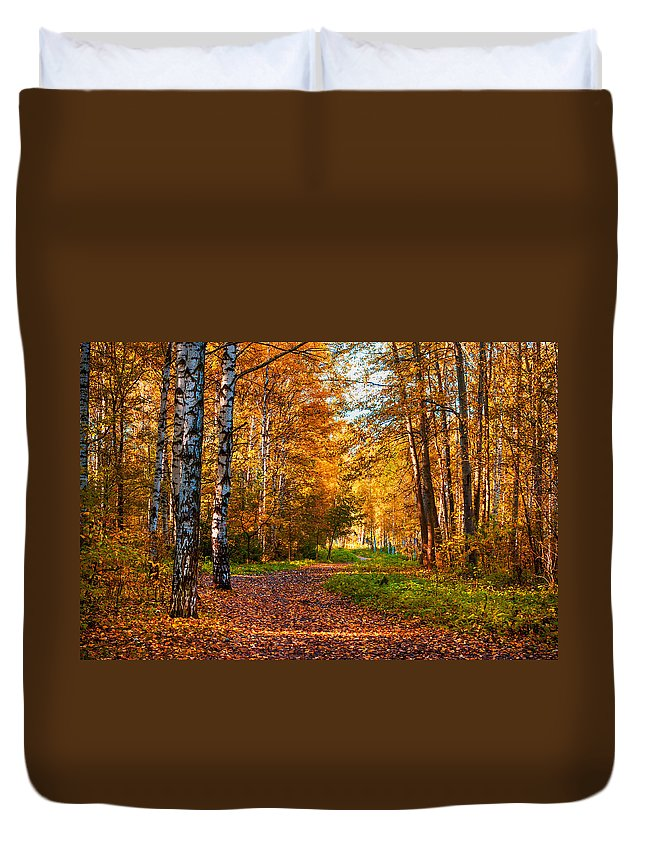 Autumn Duvet Cover featuring the photograph Last Song Of The Autumn by Jenny Rainbow
