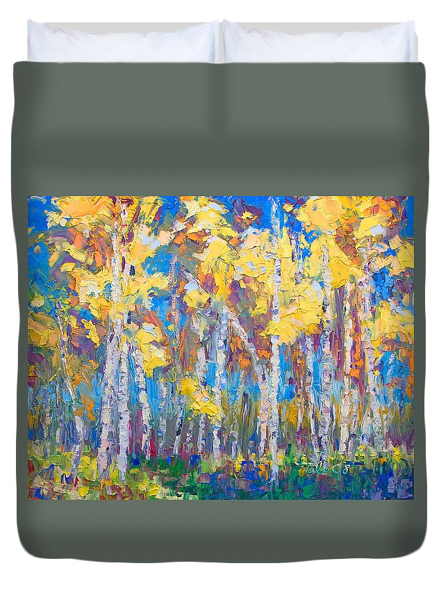 Tree Stand Duvet Cover featuring the painting Last Stand by Talya Johnson