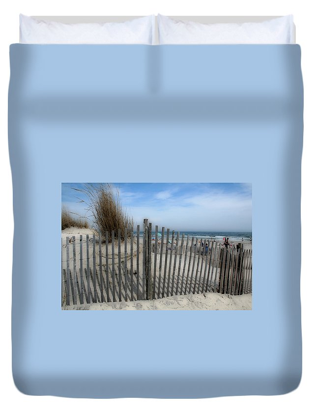 Landscapes Beach Art Sand Art Fence Wood Sky Blue Summertime Ocean Duvet Cover featuring the photograph Last Summer by Linda Sannuti