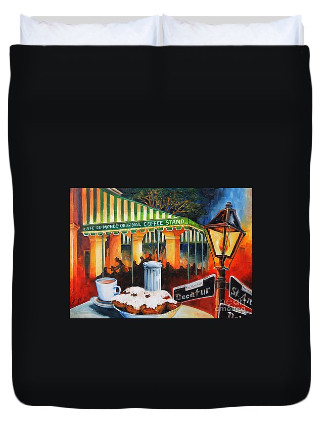 New Orleans Duvet Cover featuring the painting Late At Cafe Du Monde by Diane Millsap