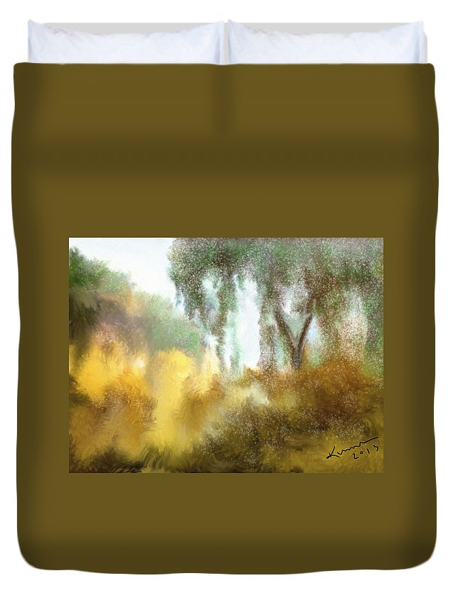 Color Duvet Cover featuring the digital art Late Autumn Chill by Kume Bryant