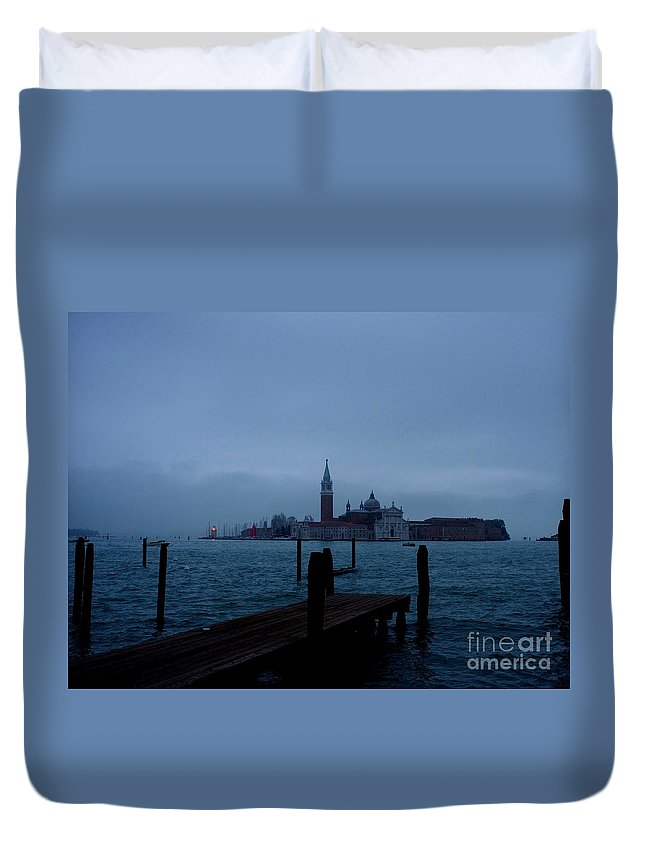 View From Venice Italy Duvet Cover featuring the photograph Late Evening In Venice by Kitrina Arbuckle