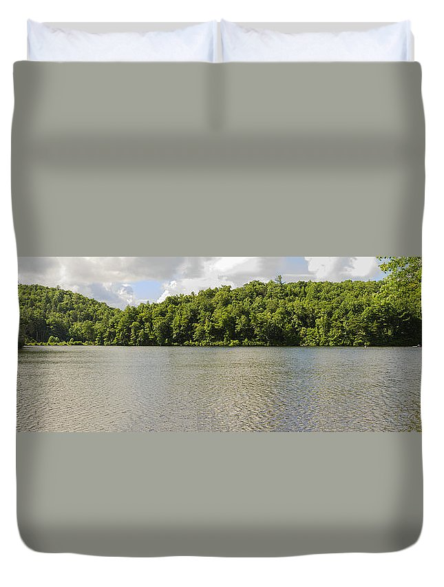 Clouds Duvet Cover featuring the photograph Late Evening On Lake Winfield Scott by Steve Samples