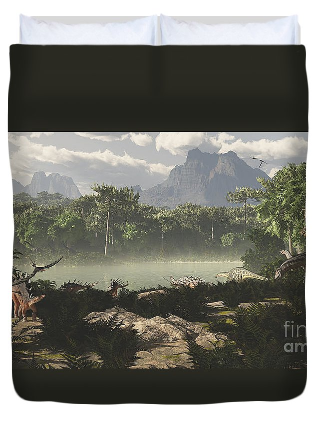 Extinct Duvet Cover featuring the digital art Late Jurassic East Africa With A Host by Arthur Dorety