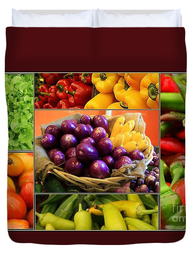 Late Summer's Bounty - Eggplant Duvet Cover featuring the photograph Late Summer Harvest by Dora Sofia Caputo Photographic Design and Fine Art