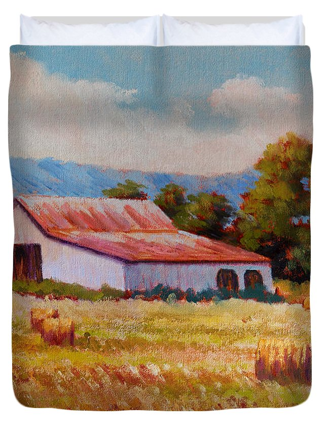 Impressionism Duvet Cover featuring the painting Late Summer Hay by Keith Burgess