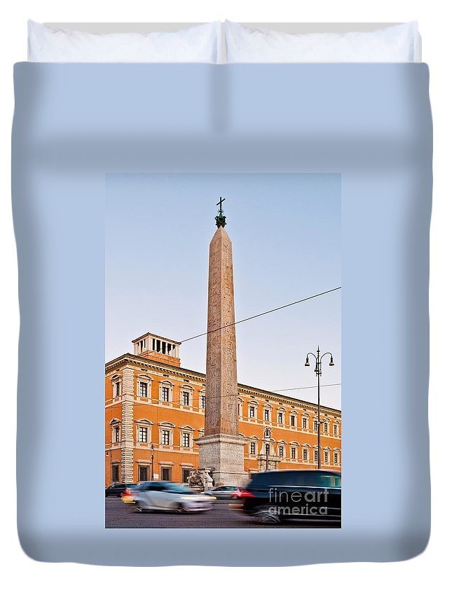 Lateran Duvet Cover featuring the photograph Lateran Obelisk In Rome by Luis Alvarenga