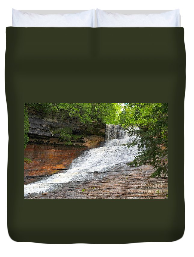 Michigan Duvet Cover featuring the photograph Laughing Whitefish Waterfall by Terri Gostola