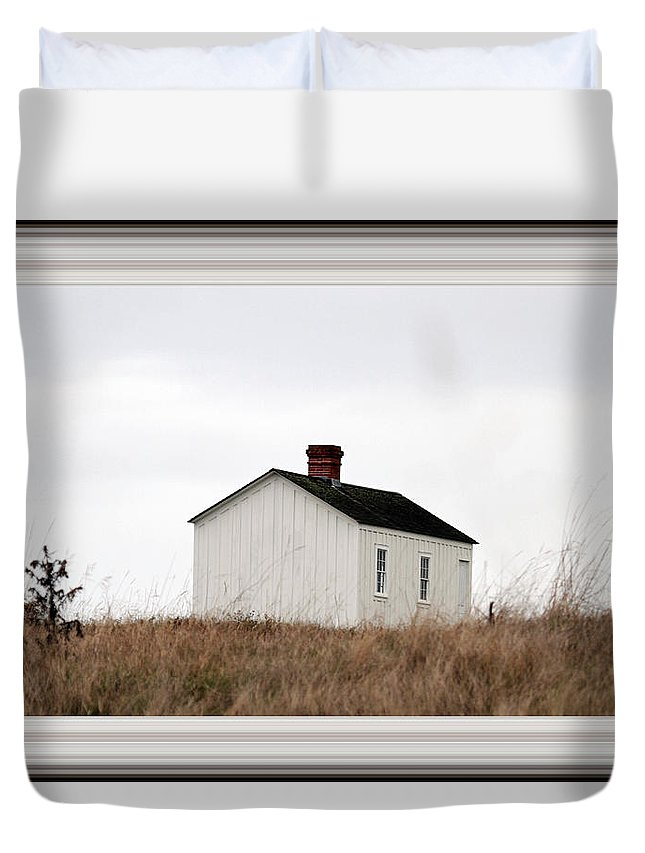 Borderized Laundress Quarters Duvet Cover featuring the photograph Laundress House At American Camp by Marie Jamieson