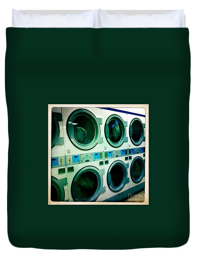 Nina Prommer Duvet Cover featuring the photograph Laundromat by Nina Prommer