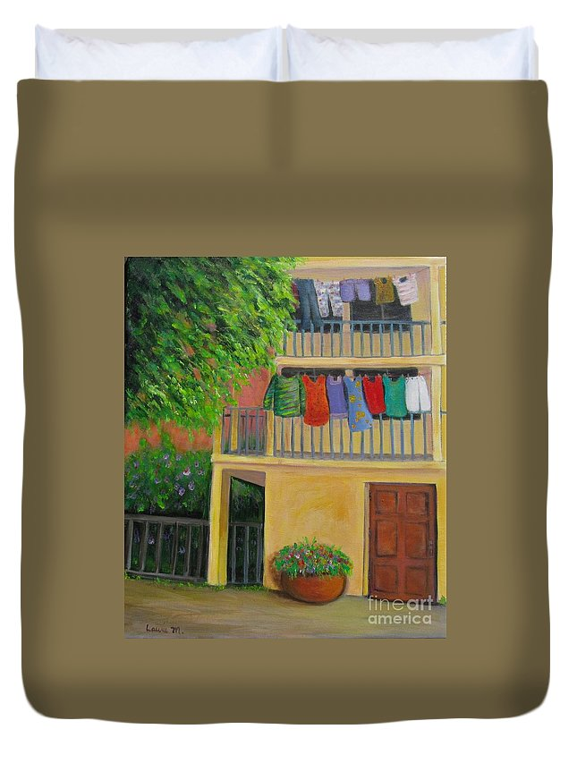 Laundry Duvet Cover featuring the painting Laundry Day by Laurie Morgan