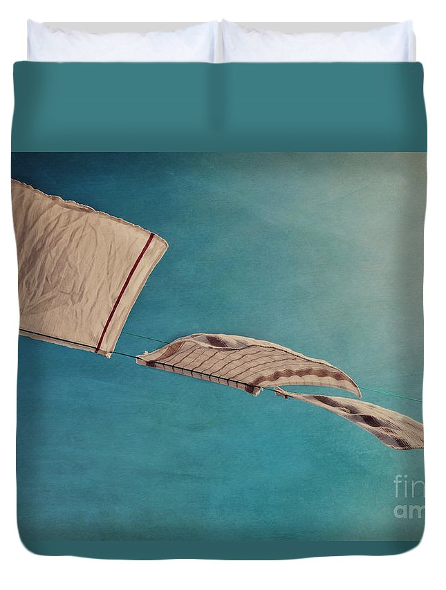 Breeze Duvet Cover featuring the photograph Laundry Day by Priska Wettstein