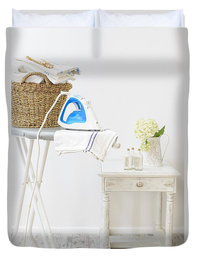 Laundry Duvet Cover featuring the photograph Laundry Room by Amanda Elwell