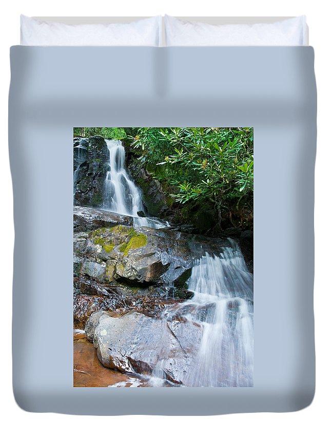 Laurel Falls Duvet Cover featuring the photograph Laurel Falls by Melinda Fawver