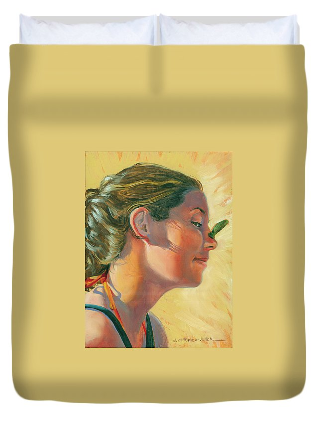 Portrait Duvet Cover featuring the painting Lauren With Pollywog by Marguerite Chadwick-Juner