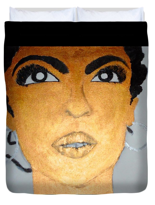 Lauryn Hill Duvet Cover featuring the painting Lauryn by Ginnie McKnight
