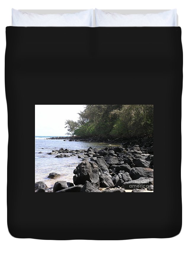 Ocean Duvet Cover featuring the photograph Lava Rocks by Mary Deal
