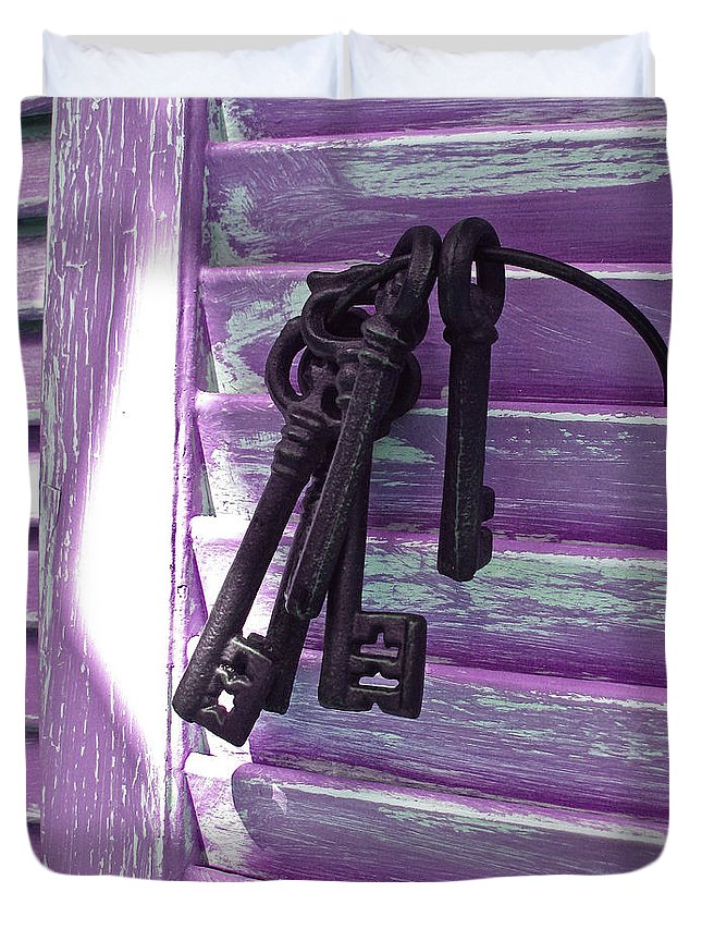 Old Keys Duvet Cover featuring the photograph Lavender Cottage Keys by Angie Mahoney
