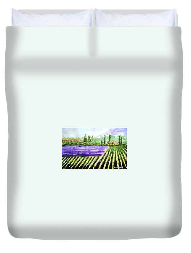 Landscape Duvet Cover featuring the painting Lavender Field by Jamie Frier