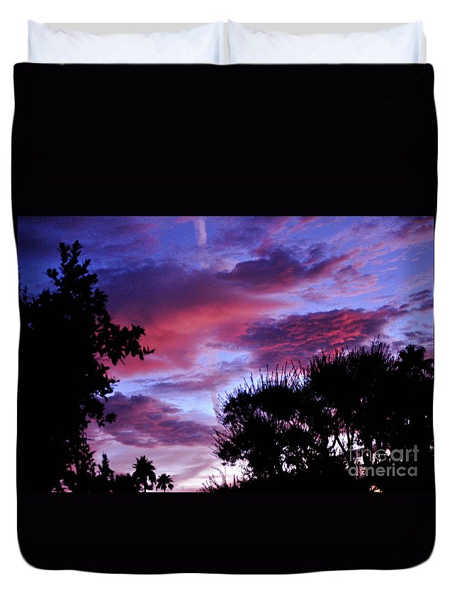 Lavender Duvet Cover featuring the photograph Lavender Pink And Blue Sunrise by Jay Milo