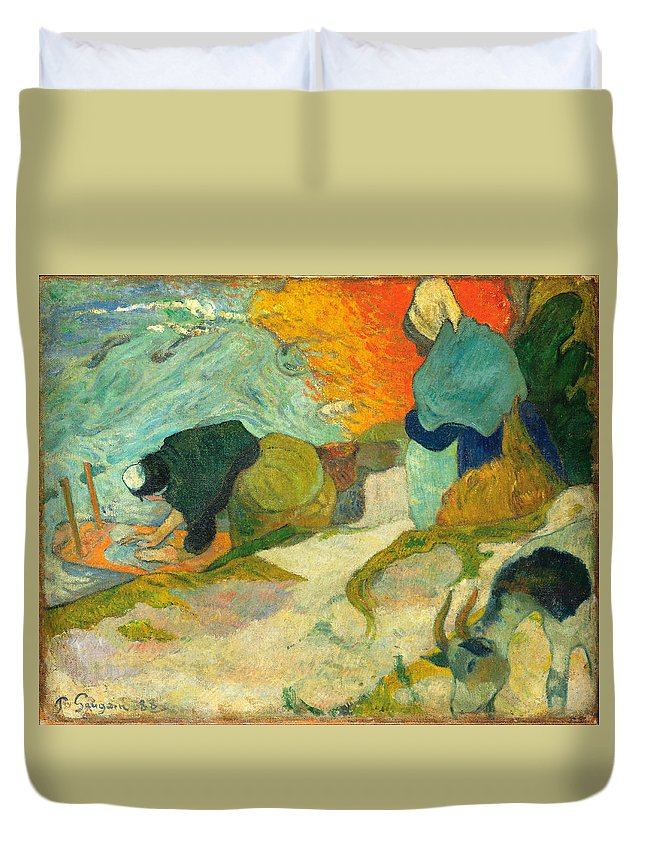 Paul Gauguin Duvet Cover featuring the painting Laveuses A Arles.washerwomen In Arles by Paul Gauguin