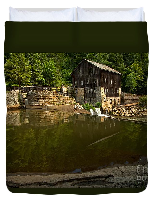 Mcconnells Mill State Park Duvet Cover featuring the photograph Lawrence County Grist Mill by Adam Jewell