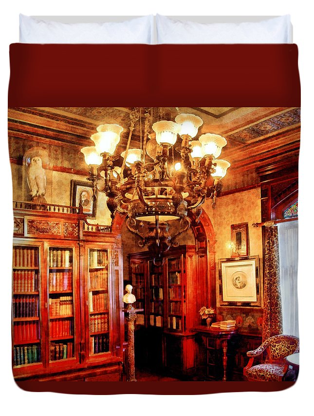 Savad Duvet Cover featuring the digital art Lawyer - In The Library by Mike Savad